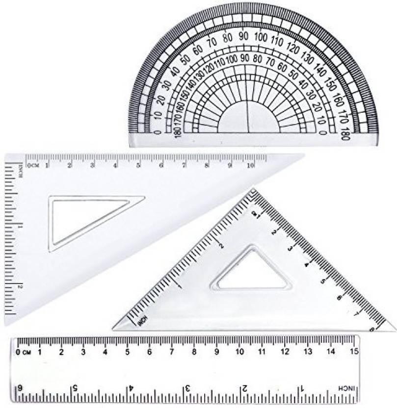 BronaGrand 4Pcs Math Geometry Tool Plastic Clear Ruler Sets