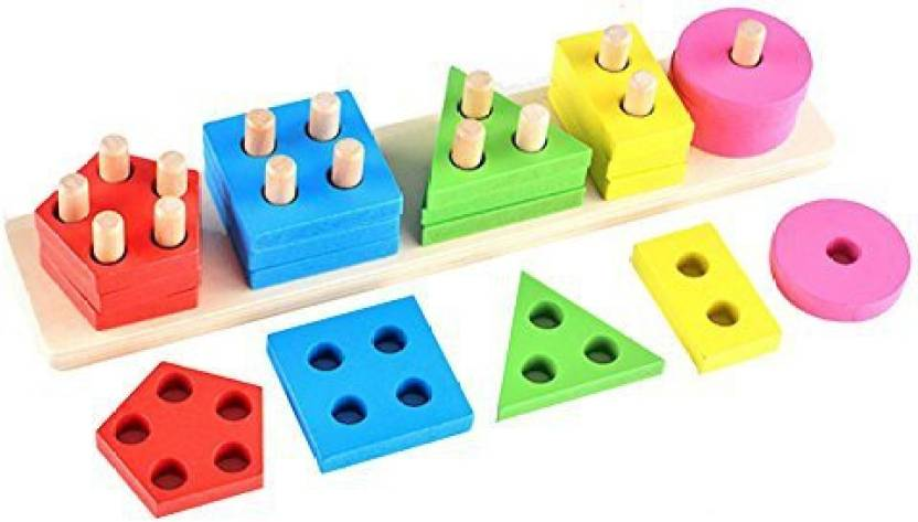 Buyitnow Kids Wooden Stacking Nesting Toys Geometric Stacker