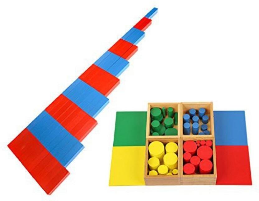 HOT GIFT Beechwood MINI Cylinder Blocks Family Set Montessori Sensorial