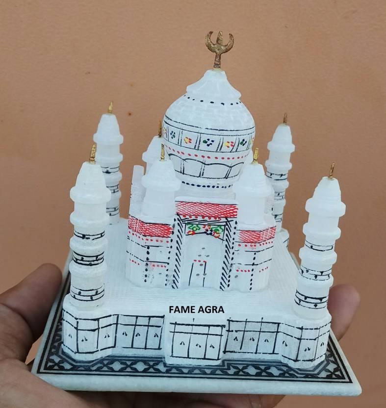 FAMEAGRA White Marble TajMahal Replica | Valentines gift | Handmade items | Marble Showpiece | Marble