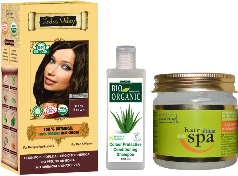 Indus Valley 100 Organic Botanical Dark Brown Gentle Hair Color