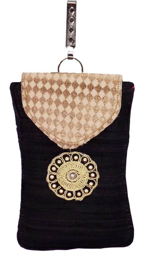 ec7394dac0 Bagaholics Ethnic Raw Silk Saree Clutch Sling Bag Mobile Pouch Waist Clip  Ladies Purse Gift For Women Mobile Pouch (Black)