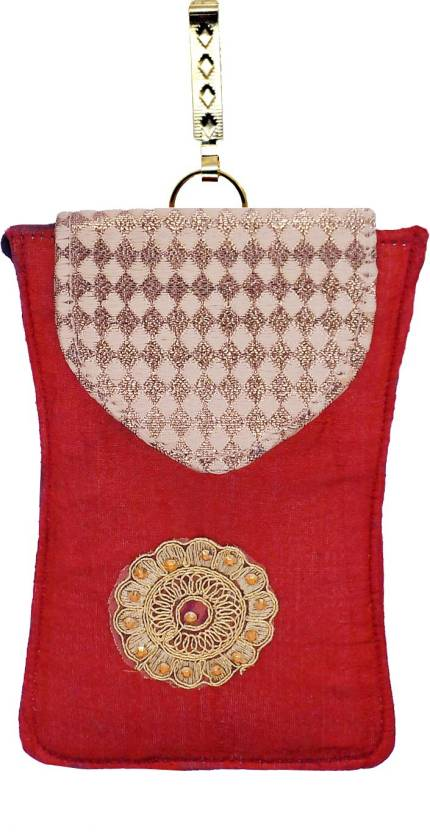 46dd61e029 Bagaholics Ethnic Raw Silk Saree Clutch Sling Bag Mobile Pouch Waist Clip  Ladies Purse Gift For Women Mobile Pouch (Maroon)