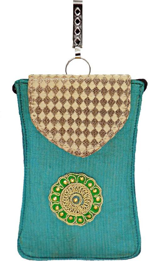 8bd7c41d44 Bagaholics Ethnic Raw Silk Saree Clutch Sling Bag Mobile Pouch Waist Clip  Ladies Purse Gift For Women Mobile Pouch (Green)