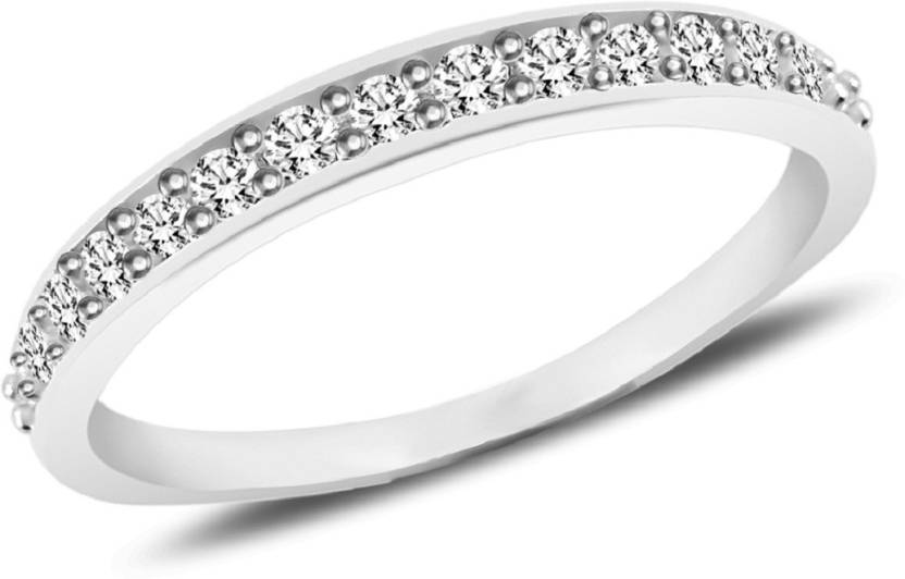 MJ 925 Scintillating White CZ Band Silver Cubic Zirconia