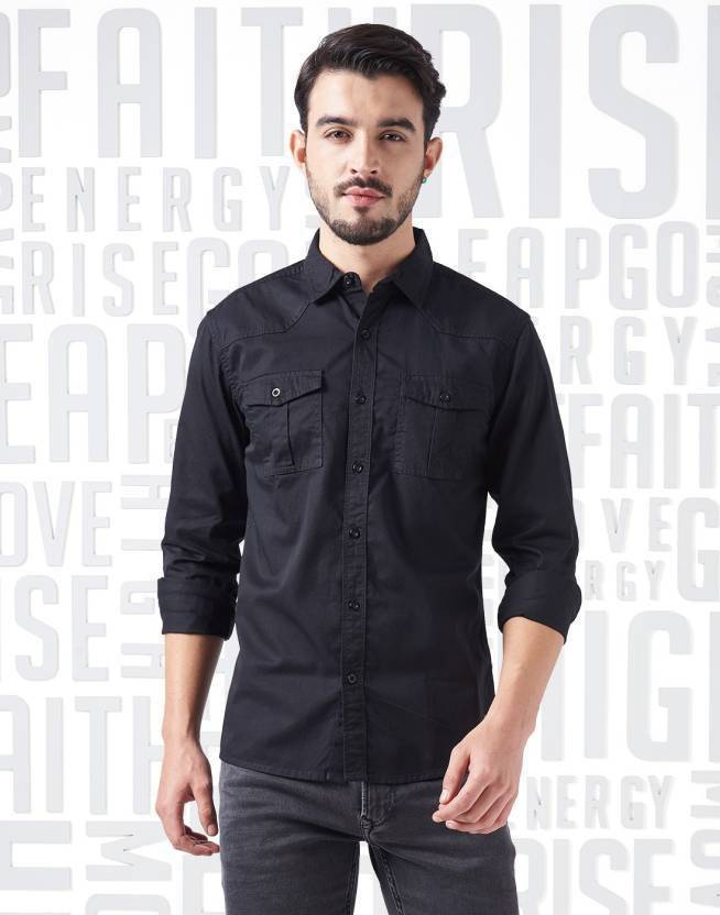Metronaut Men Solid Casual Black Shirt