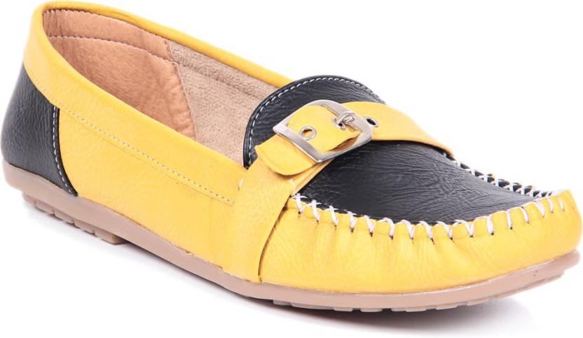 671046c57ed TEN TEN Yellow Black Loafers Loafers For Women - Buy TEN TEN Yellow ...