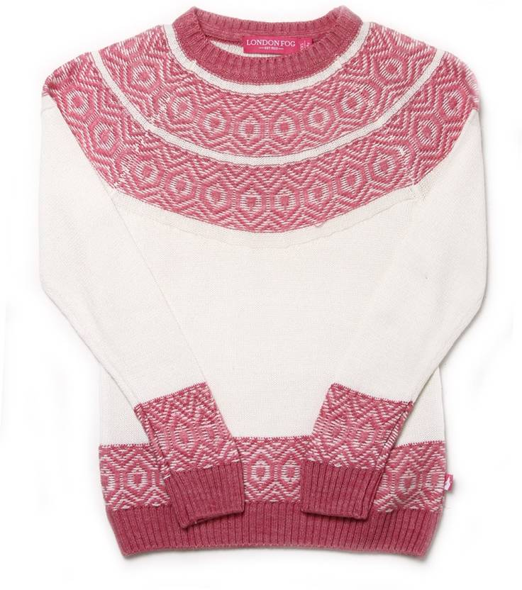 939d6dcb9 London Fog Self Design Round Neck Casual Girls White Sweater - Buy ...