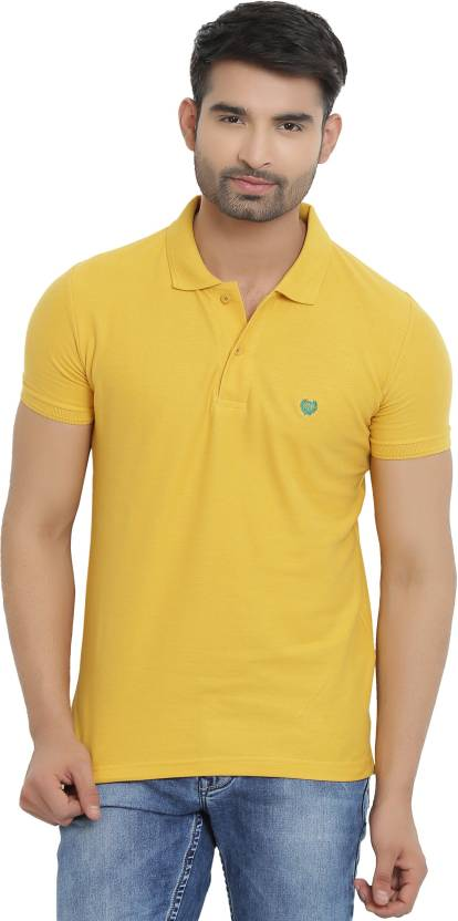 404d0f459bbe80 Duke Solid Men Polo Neck Yellow T-Shirt - Buy Duke Solid Men Polo Neck  Yellow T-Shirt Online at Best Prices in India