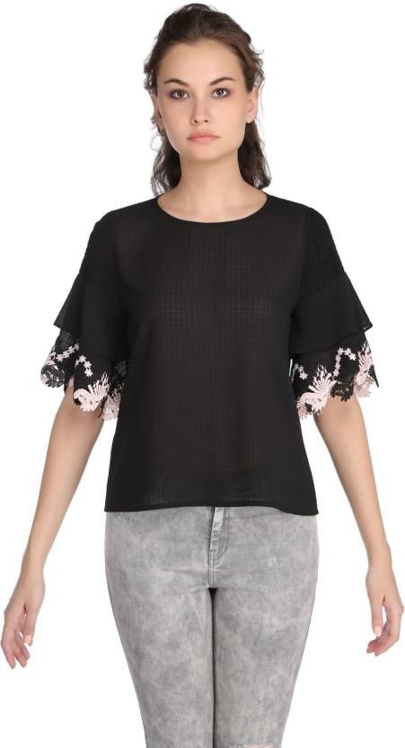 eb59f82145015 MADAME Casual Half Sleeve Solid Women's Black Top - Buy MADAME Casual Half  Sleeve Solid Women's Black Top Online at Best Prices in India | Flipkart.com