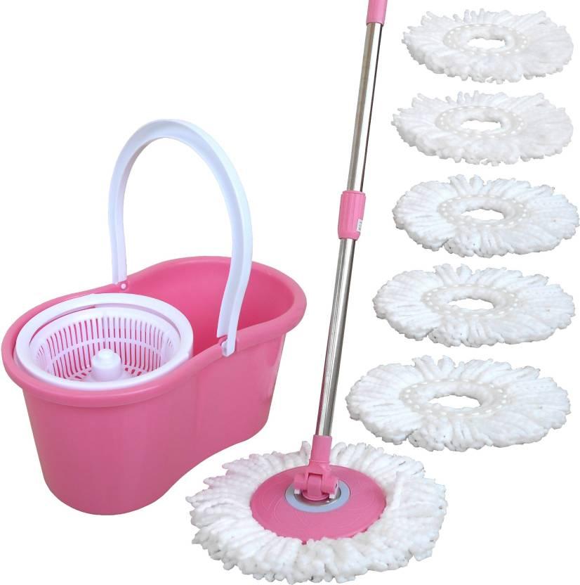 Prince Plastic basket with 6 cotton Light Pink Color[Colour