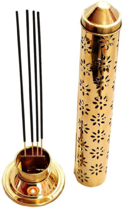 Gift Décor Shop agarbati stick holder with ash catcher for puja gifts puja room decoration items puja idols Steel Incense Holder (Gold)