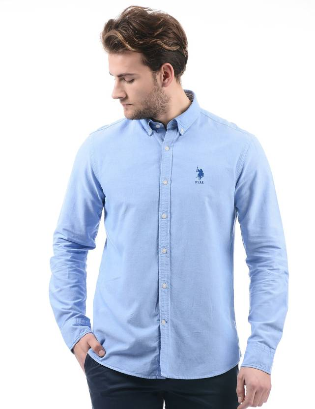 a8bacbfeb7 U.S. Polo Assn Men Solid Casual Blue Shirt - Buy U.S. Polo Assn Men Solid  Casual Blue Shirt Online at Best Prices in India
