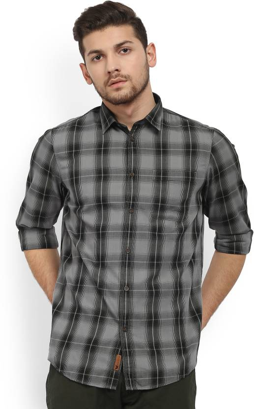 Arrow Jeans Mens Checkered Casual Black Shirt