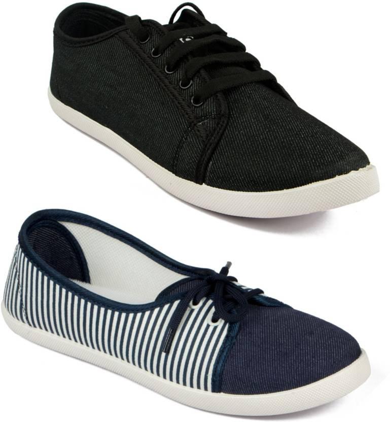 9e5b95c11fedd Asian Women Casual   Running Shoes Combo Pack of 2 Sneakers For Women  (Black)