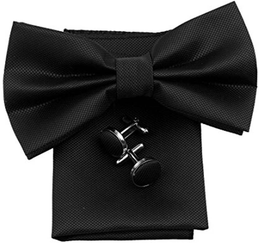 a6b99745747f FOBHIYA Microfiber Butterfly Bow Tie with Pocket Square & Cufflinks Set in Black  Solid Men's Tie - Buy FOBHIYA Microfiber Butterfly Bow Tie with Pocket ...