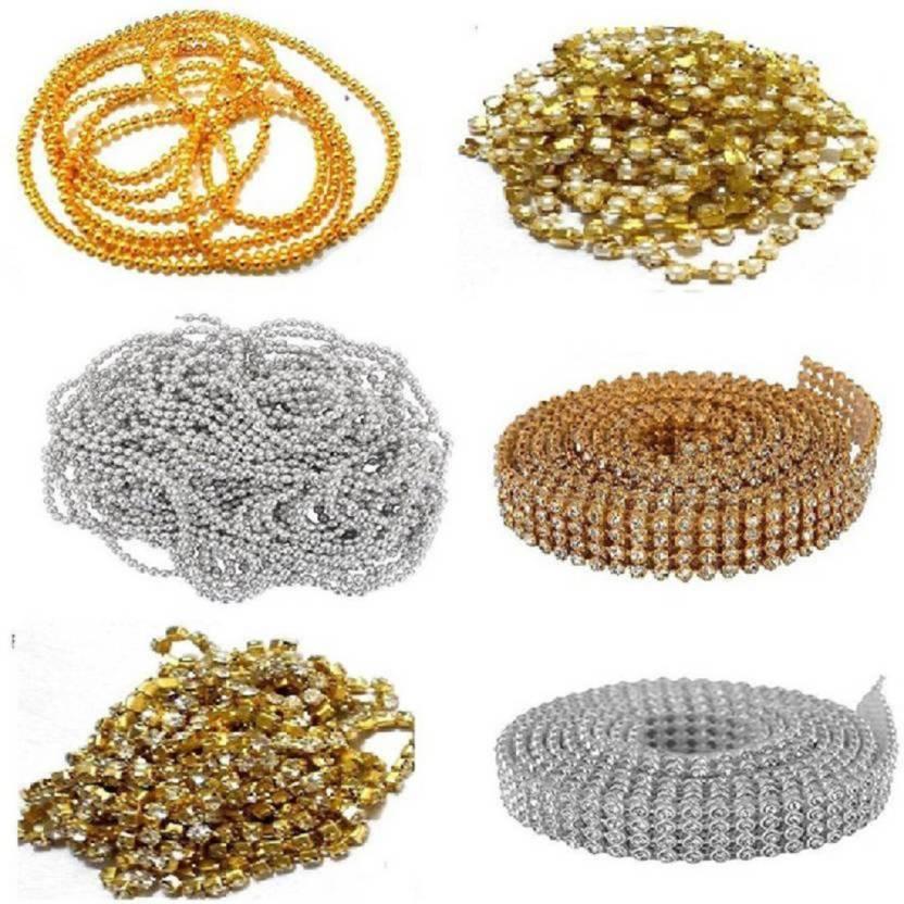 puffy Pearl chain stone chain golden ball chain stone lace golden   silver  combo - Pearl chain stone chain golden ball chain stone lace golden    silver ... 501425b89