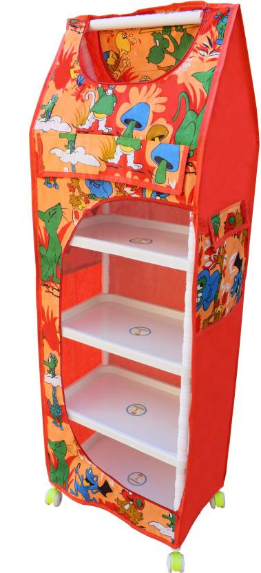 Flipzon Multipurpose 5 Shelves PVC Collapsible Wardrobe Finish Color   Red