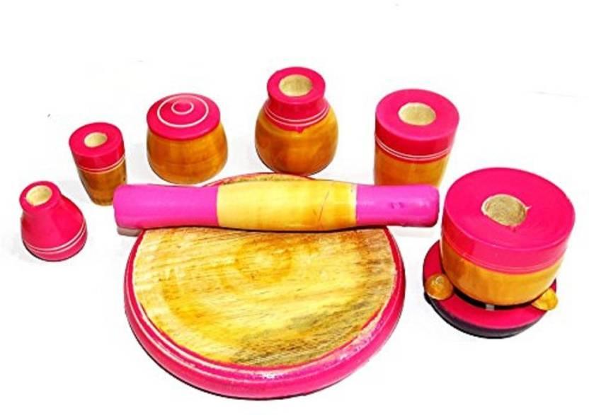 Kalaplanet Kalaaplanet Eco Friendly Pink Wooden Toy Kitchen Set
