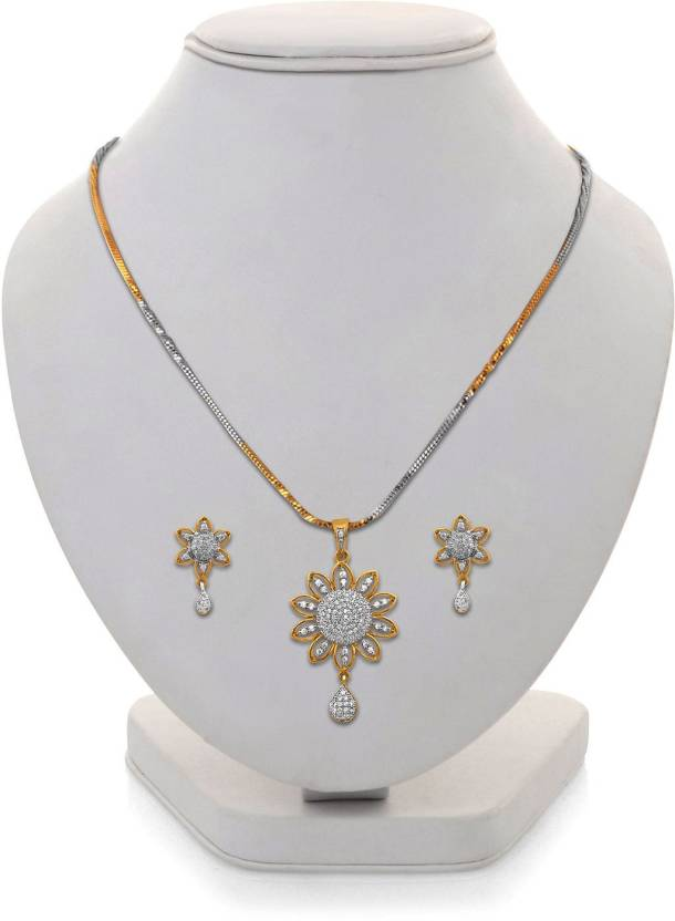 c427c2426 AMERICAN JEWELLERS Fashion Jewellery Designer Gold Silver Plated American  Diamond gift your beloved Gold-plated Alloy Pendant Set Price in India -  Buy ...