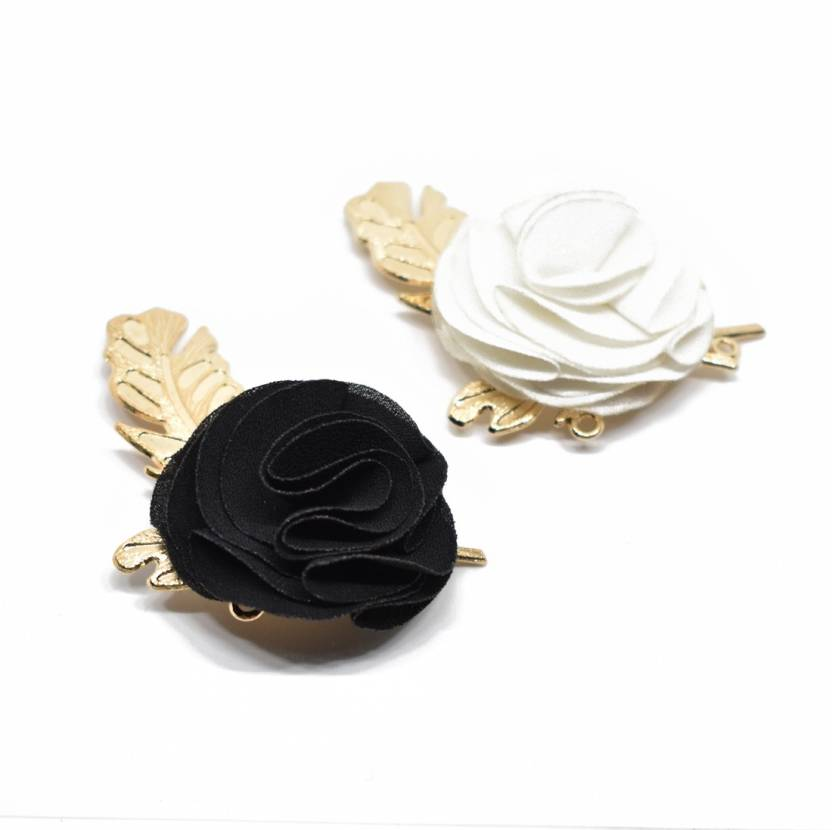 a932c1904 Verceys Black And White Lapel Flower Golden Leaf Brooch Boutonniere Tuxedo  Pin for Suit Wedding Corsage Brooch (Black, White)