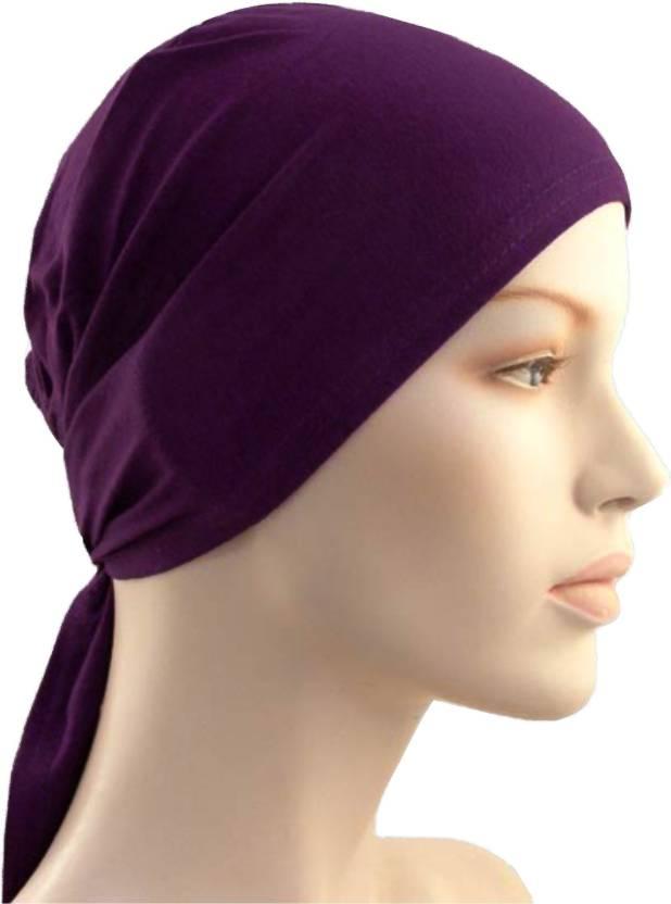 Cwen Collection Solid Hijab TIE BACK BONNET DARK PURPLE d8ae138cef20