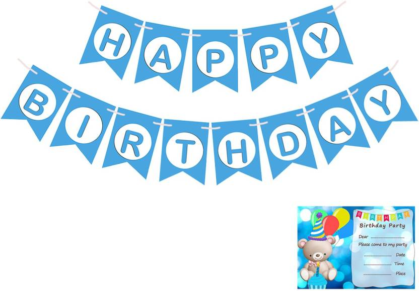 Easycraftz Blue Birthday Banner And Invitation Cards For