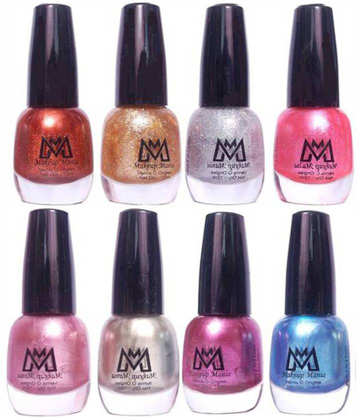 Makeup Mania Premium Nail Polish Combo Of 8 Unique Glitter Paint Mm 11 43 Golden Brown Pearl Shimmery Silver Purple Metallic Blue