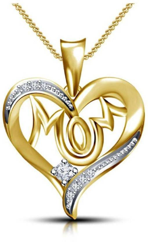 b4e95d87d3 Vorra Fashion Gorgeous 'MOM' letter 14K Gold Plated 925 Sterling Silver  Pendant with chain For Women's Cubic Zirconia Silver Price in India - Buy  Vorra ...