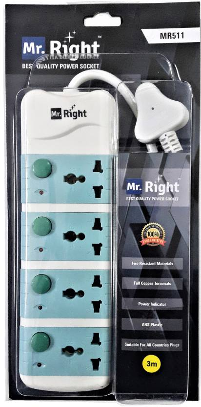 Mr. Right MR-511 3 Meter Wire Power Strip Extension Cord board 4 ...