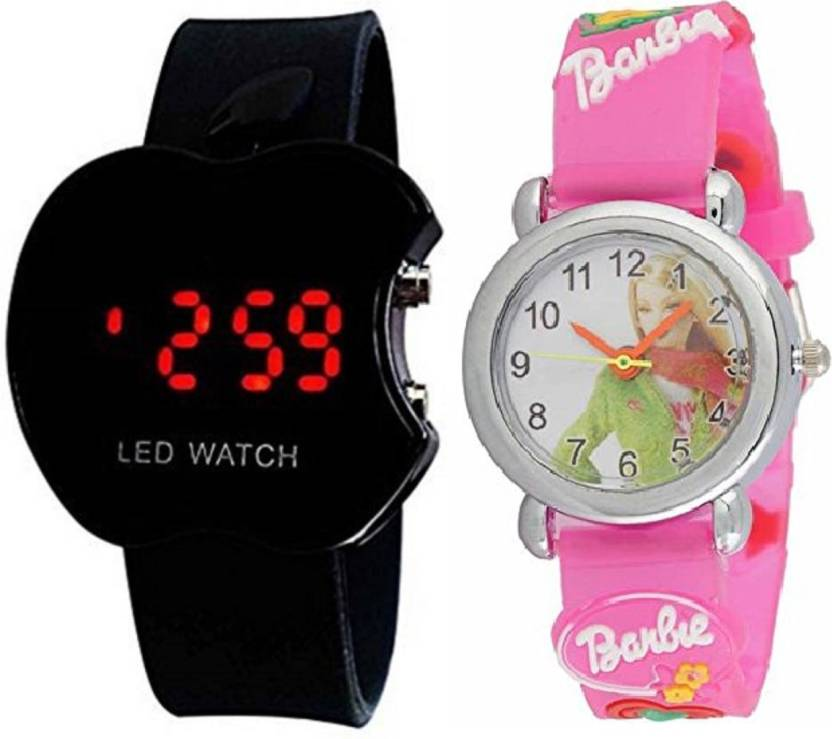 Good Friends NEW GENERATION ANALOG PINK BARBIE AND DIGITAL APPLE SHAPE  WATCH FOR ( KIDS AND BOYS )AND ALSO GOOD GIFT FOR BOYS AND GIRLS Watch -  For