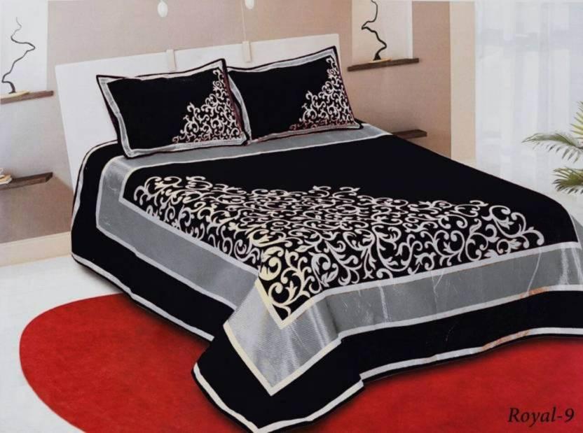 Sheethub 300 Tc Velvet Double King Abstract Bedsheet Buy Sheethub