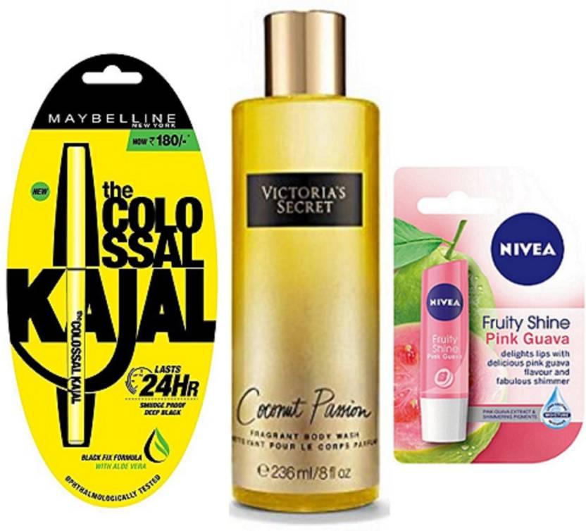b33a3d4c61b Maybelline Colossal Kajal, Nivea Pink Gvava Lip Balm   Victoria s Secret  Coconut Passion Body Wash (Set of 3)