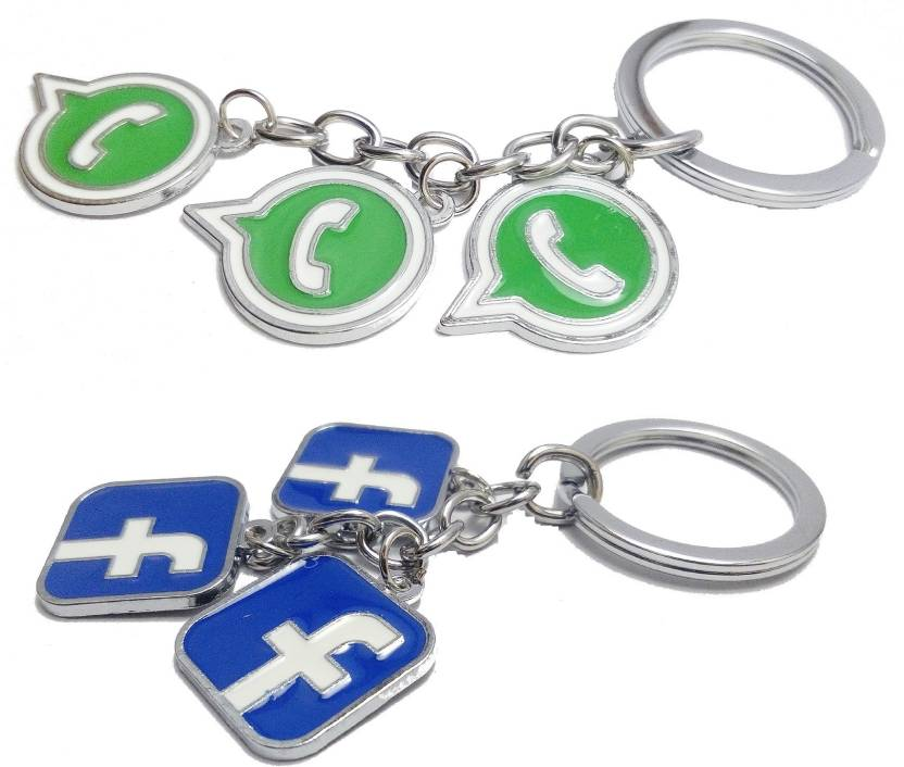 kd collections Facebook Whatsapp Logo Metal Keychain Keyring|Social  Networking Site Logo Keychain For Bike & cars|Pack of 2|Combo Key Chain