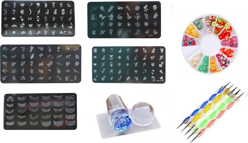 Royalkart Nail Art Stamping Kit With Silicone Stamper & Dotting Tool ...