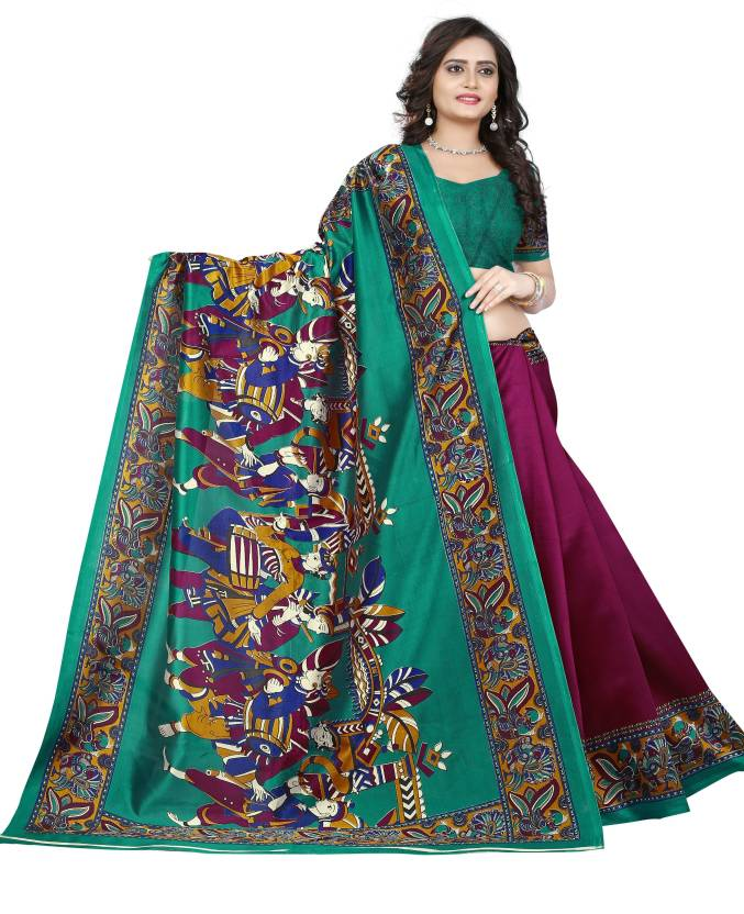 56309961a7 Buy Jaanvi Fashion Printed Madhubani Art Silk Maroon, Green Sarees ...
