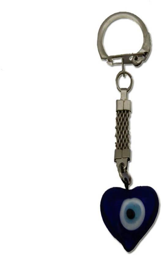 DivyaMantra Feng Shui Heart Shaped Evil Eye Key Chain & Tibetian