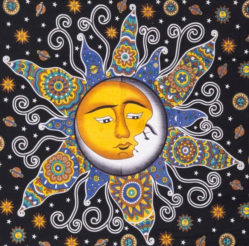 Handicrunch Psychedelic Celestial Sun Moon Stars Tapestry Hippie