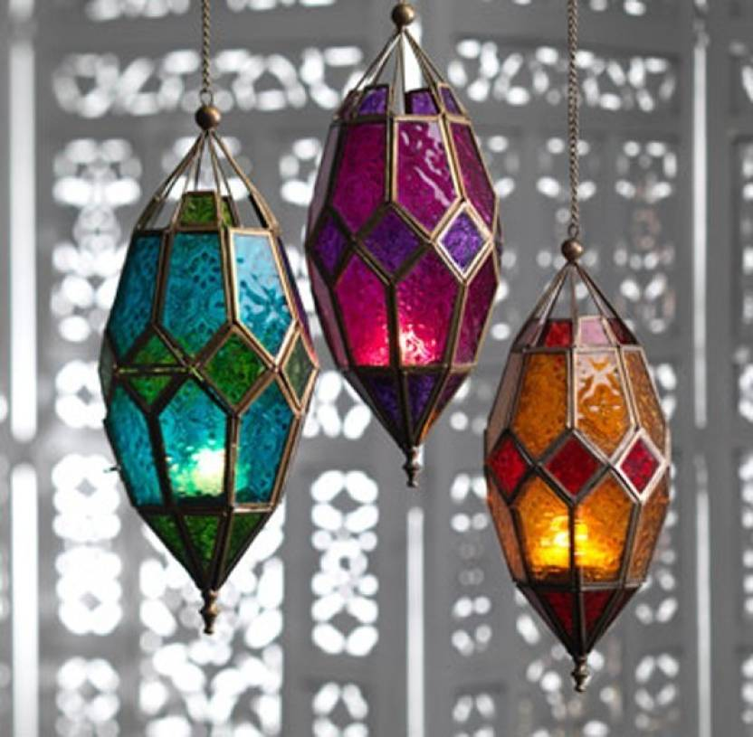 2c4ced4878823 Collectible india Red Glass Metal Hollow Candle Holder Lanterns With Chain