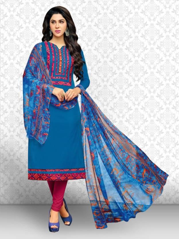 1e87b7a476 Divastri Chanderi Cotton Embroidered Kurta & Churidar Material (Un-stitched)