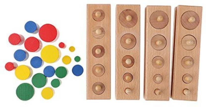 Dovewill Toddlers Montessori 4 Blocks Socket Cylinders Stacking