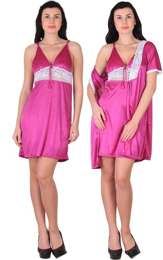 Shararat Women Nighty with Robe - Buy Shararat Women Nighty with ... 34916687d