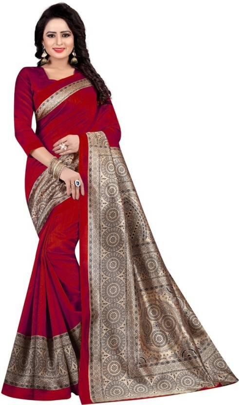 5a935ffa9 HITESH ENTERPRISE Printed Mysore Art Silk Saree (Red