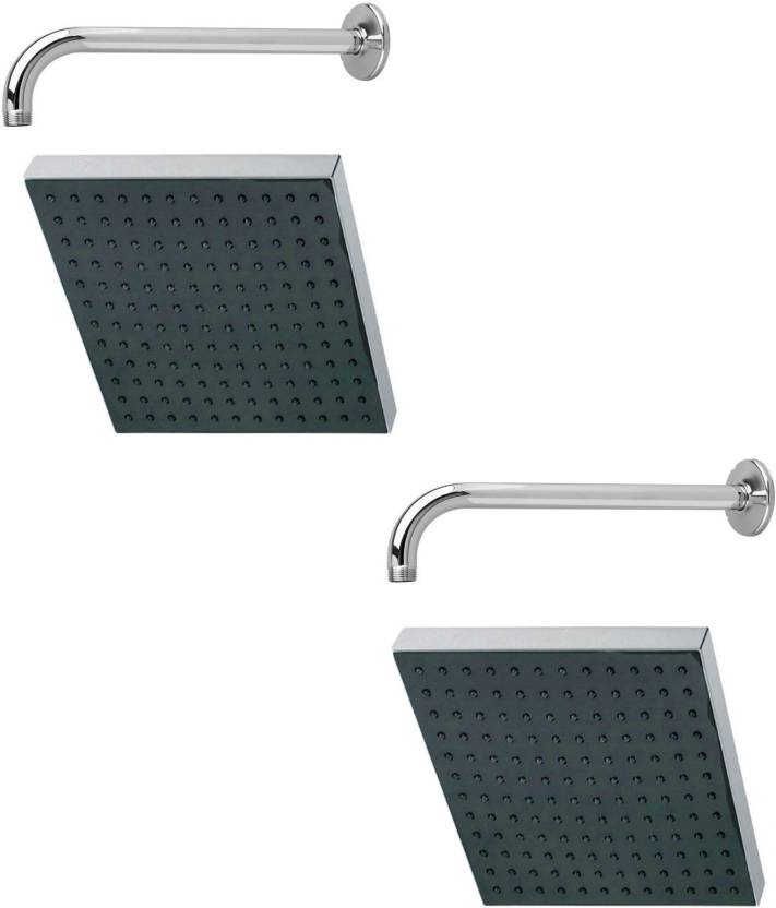 Kurvz 8x8 Square Rain Shower Head With 12inch Round Arm Pack Of 2