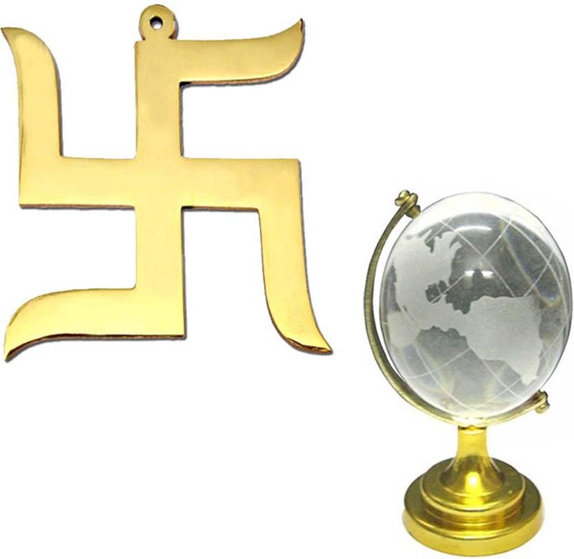 Divyamantra Hindu Lucky Symbol Swastik Pure Brass Wall Hanging For
