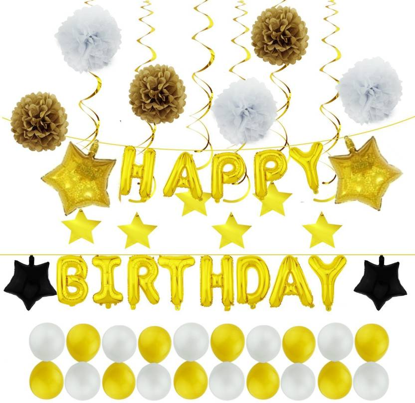Factory 21 51 PCS Golden Theme Birthday Decorations Set 1 Happy Foil Balloon Banner With
