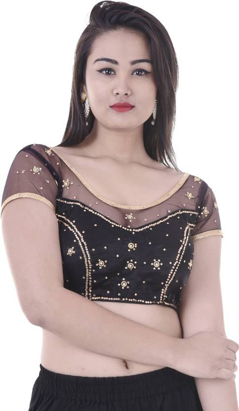 452f732f8be APRATIM Round Neck Women s Stitched Blouse - Buy Black APRATIM Round Neck  Women s Stitched Blouse Online at Best Prices in India