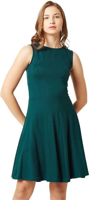 7940f370d9b7f Miss Chase Women's Skater Dark Green Dress - Buy Miss Chase Women's ...