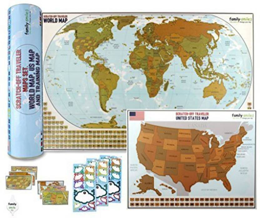 Transformania Toys World Map With Us Map Scratch Off Reveal ...