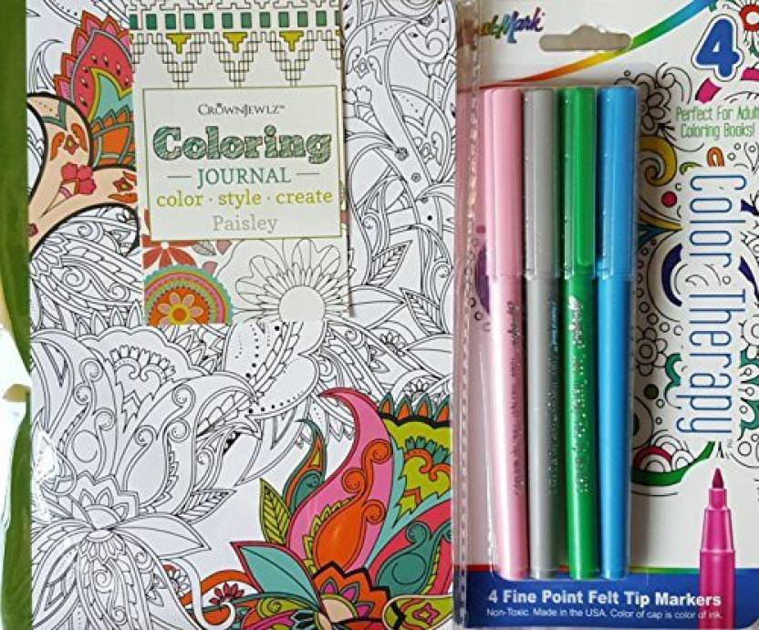 CrownJewlz Coloring Journal Paisley And 4 Color Therapy Markers Set